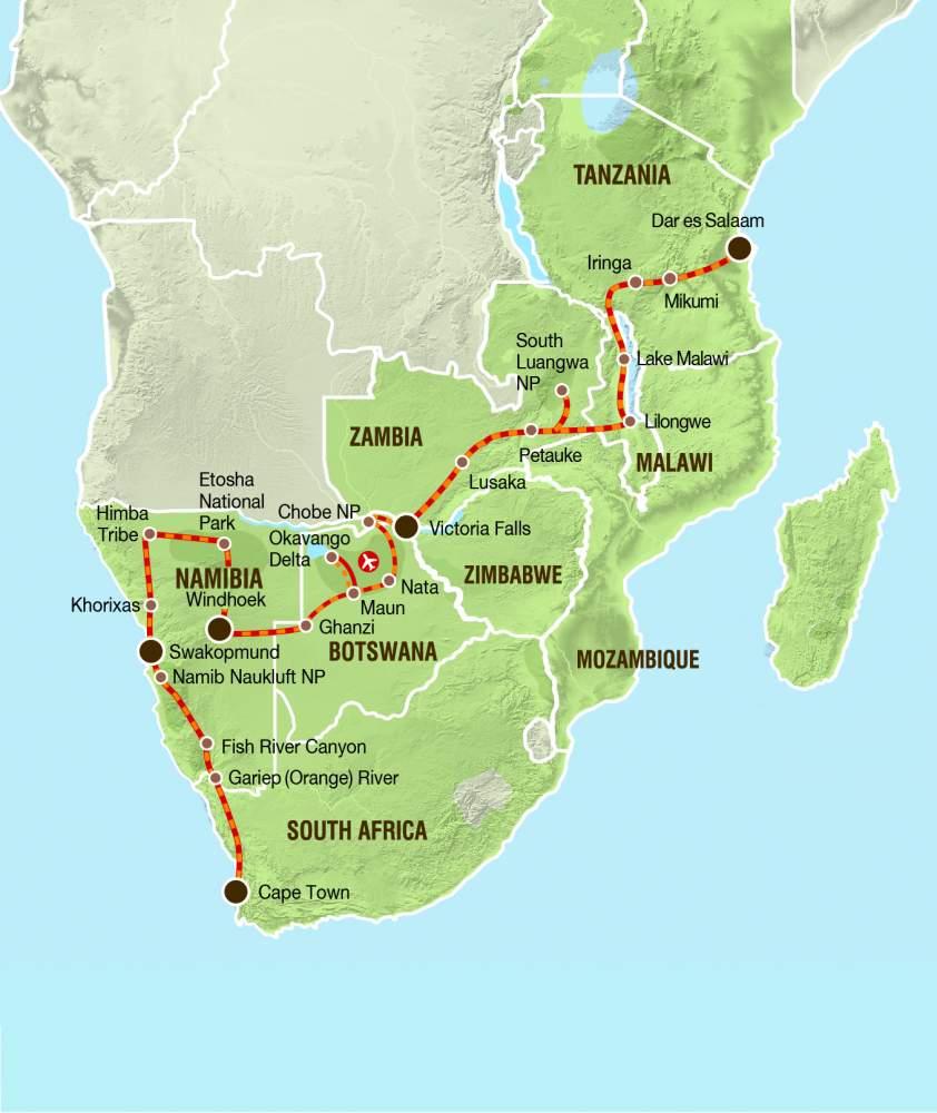 Overcross Sudafrika Namibia Botswana Simbabwe Sambia Malawi Tansania Gruppenreise Kapstadt Nach Dar Es Salaam Vom Atlantik Zum Indischen Ozean