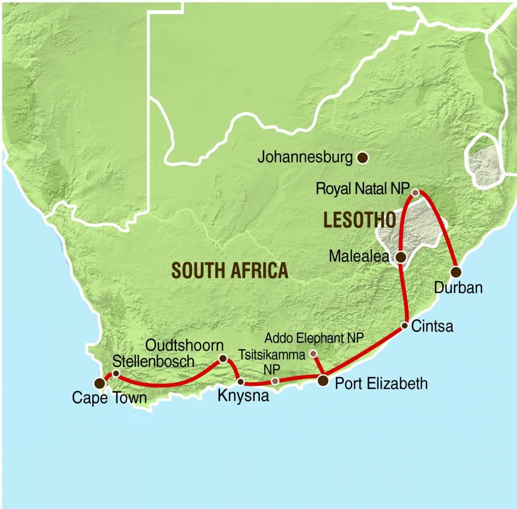 Karte Südafrika Garden Route.Overcross Gruppenreise Südafrika Lesotho Garden Route Lesotho